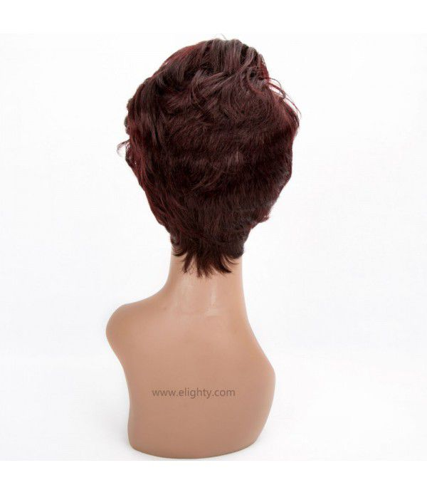 Women's Wig Short Curly Wave Wig Highlight Side Bangs Wig(Color 99J#)