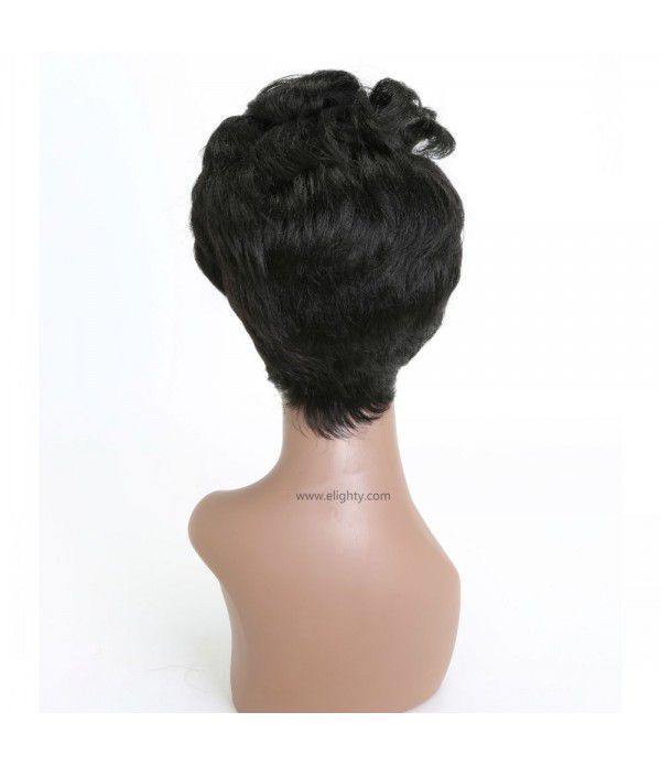 Fashionable Short Straight with Oblique Bangs Wigs for Women Daily Use (1B# Off Black)