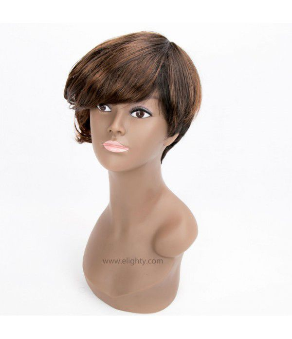 Short Pixie Cut Wig Short Synthetic Hair Wigs For Women (Color DX2T30#)