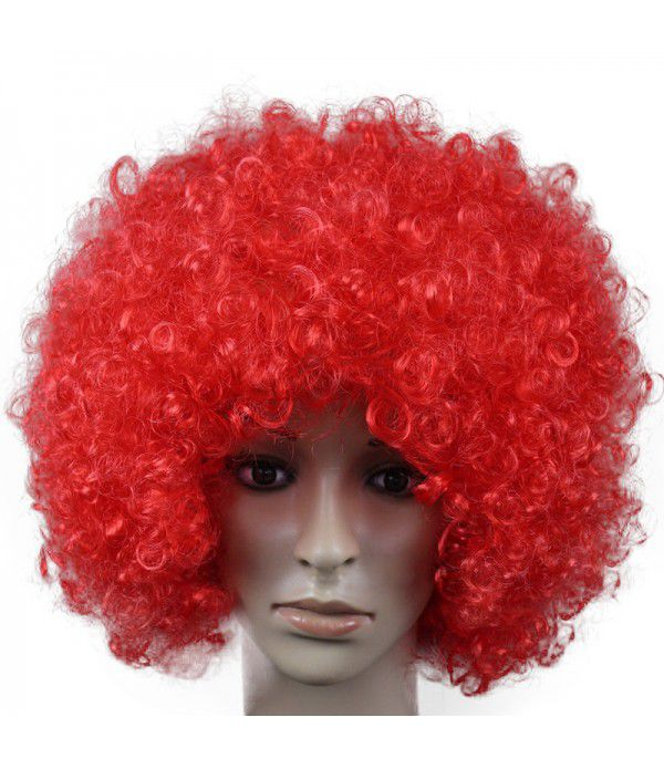 Football Fans Wig Halloween Party Clown Funny Wigs Afro Christmas Hair Crazy Cosplay Wig Colorful Rainbow
