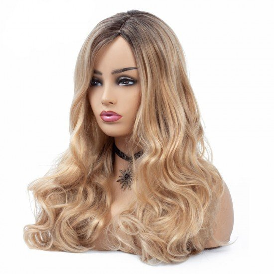 24 Inches Long Ombre Synthetic Wigs Blonde Hair