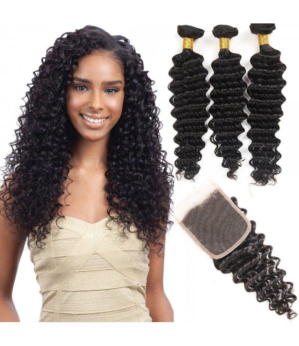 8A  Grade Brazilian Deep Wave Curly Virgin Hair 3 ...