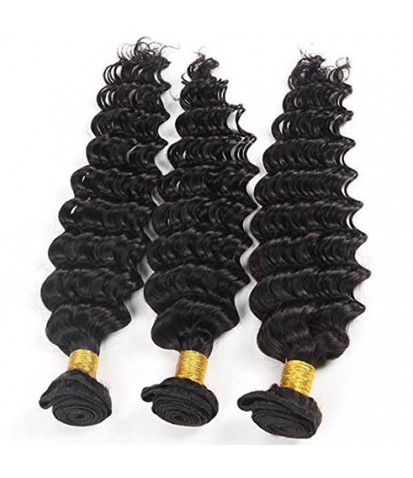 8A  Grade Brazilian Deep Wave Curly Virgin Hair 3 bundles Human Hair Extensions Weft Natural Color 100g /pcs (16 18 20 Natural Color)