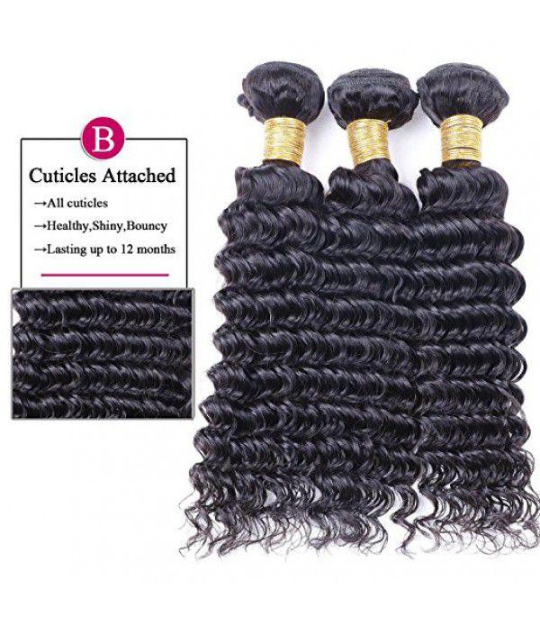 Brazilian Deep Wave Hair, human Virgin pineapple Hair 3 Bundles Natural Color
