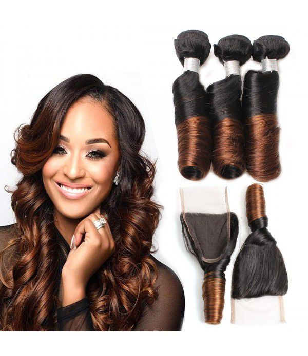 Curly Weave Human Hair Bundles With Lace Closure 2 Tone Ombre Color