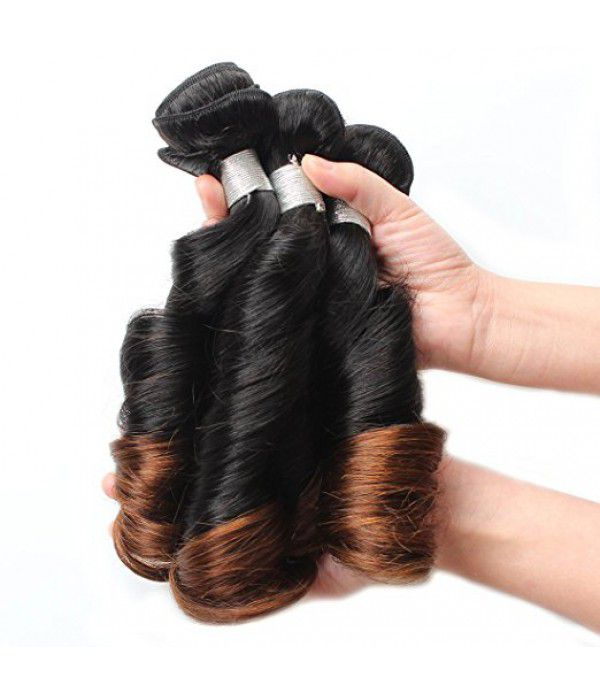 8A Brazilian 2 Tone Ombre Color hair extensions with Lace Closure with Virgin Remy Curly Weave Hair Extensions (12 14 16+12 Closure,T1B/4)