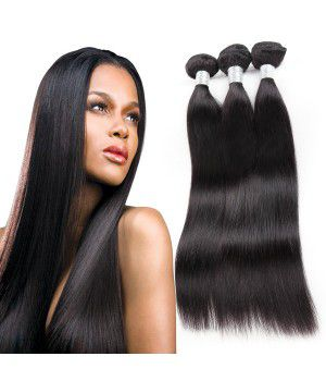 3 Bundles With Closure, Malaysian Hair 100 Remy Human Hair Extensions Virgin Straight Hair
