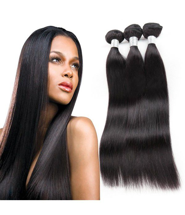 Malaysian Hair Straight 8A Grade 100% Unprocessed Virgin Human Hair 3 Bundles Weave Natural Color (16 18 20inches,Natural Color)