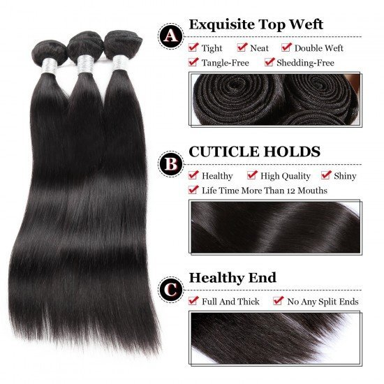 3 Bundles Malaysian Hair Extensions With Closure