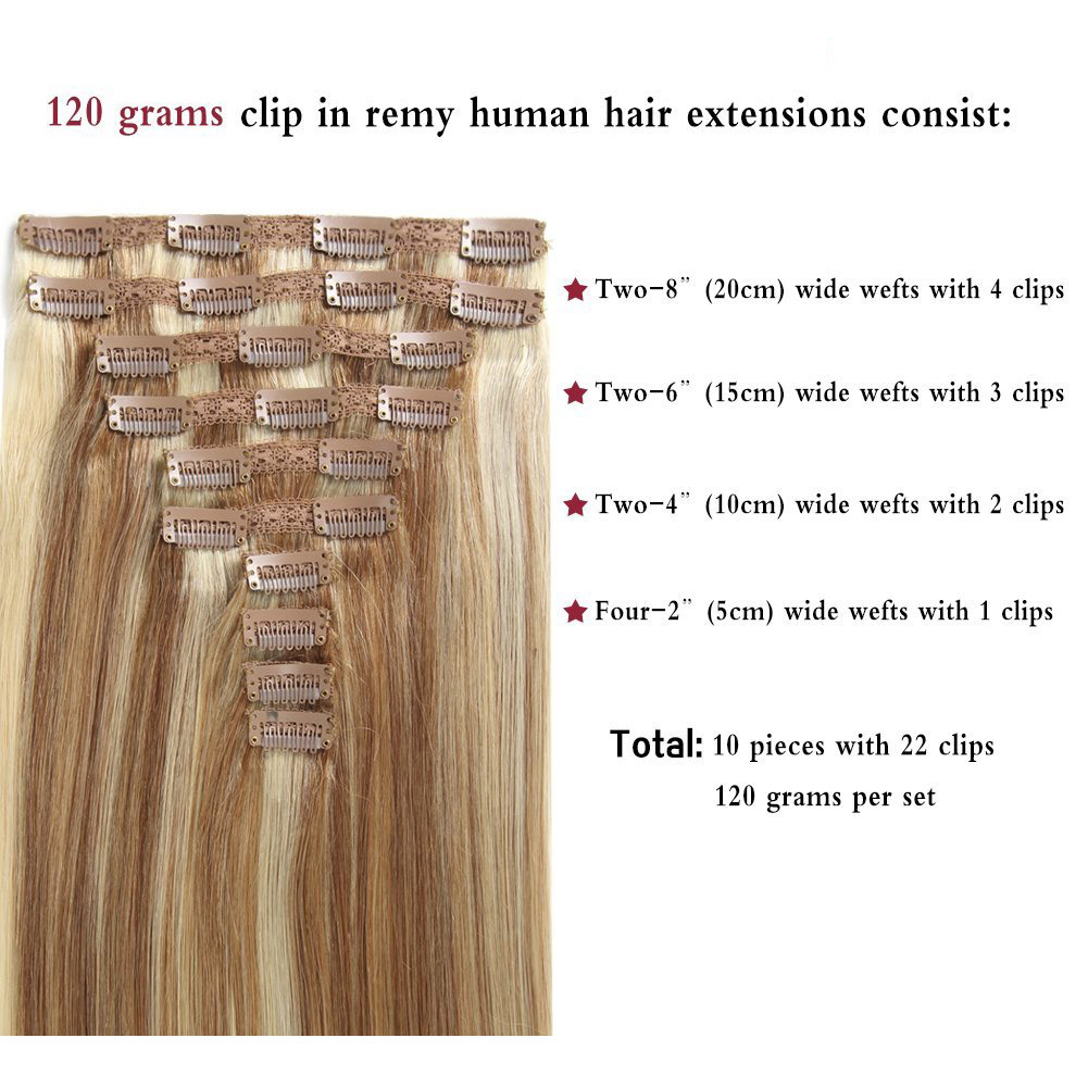 20 Inch 10 Pcs Clip In Hair Extension Remy Hair Real Human Hair
